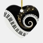 De Sleutels van de piano en de Gouden Nota's van Kerstboom Ornament