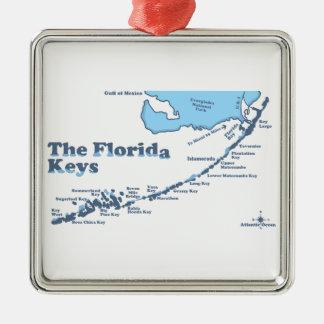 De Sleutels van Florida Zilverkleurig Vierkant Ornament