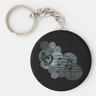 De sleutels van het hart, muzieknota's + zilveren basic ronde button sleutelhanger
