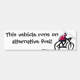 De slogan van de fietser - Dit voertuig loopt op a Bumpersticker