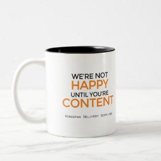 De sloganmok van de Diensten van de Levering van Tweekleurige Koffiemok