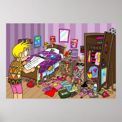 De slordige slaapkamer van meisjes posters zazzle - Slaapkamer van een meisje ...