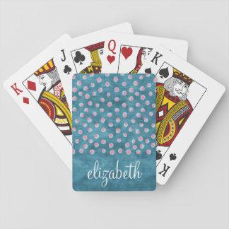 De Slordige Stippen van de waterverf - blauw en Speelkaarten