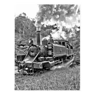 De smalle Zwart-witte Trein van de Stoom van de Briefkaart