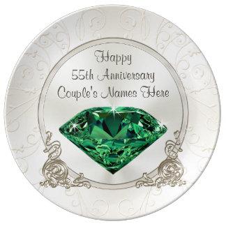 De smaragdgroene Gelukkige 55ste GEPERSONALISEERDE Porseleinen Bordje