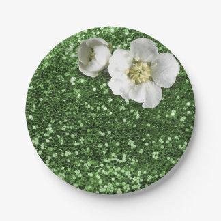 De smaragdgroene Witte Jasmijn van het Groen Papieren Bordjes