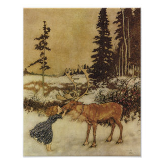 De sneeuw Koningin Edmund Dulac Fine Art Poster