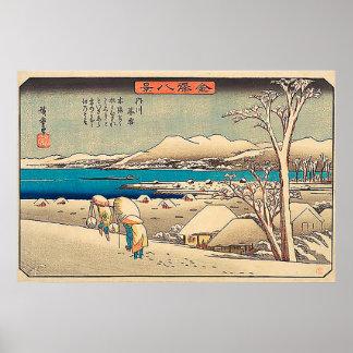 De Sneeuw van de avond in uchikawa-Utagawa Poster