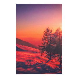 De sneeuw Zonsondergang van de Avond Briefpapier