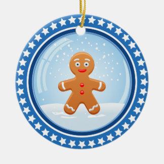 De Sneeuwbal van Kerstmis met het Leuke Man van de Rond Keramisch Ornament