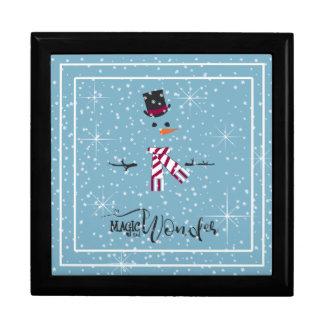 De Sneeuwman Blauwe ID440 van magische en Wonder Decoratiedoosje