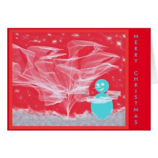 De Sneeuwman die van Kerstmis Boom verfraaien Briefkaarten 0