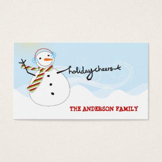 De Sneeuwman van de pret juicht het Label van de Visitekaartjes