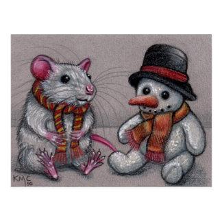 De Sneeuwman van de rat in sjaalBriefkaart Briefkaart