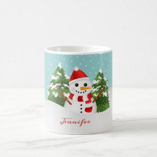 De Sneeuwman van de winter met Kerstmis van de Koffiemok