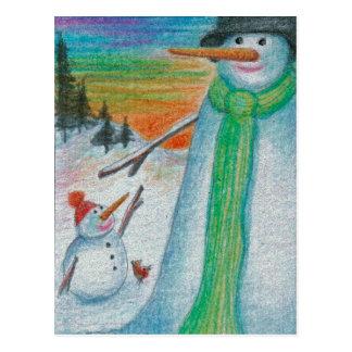 De Sneeuwman van Poppa en zijn kleine Briefkaart