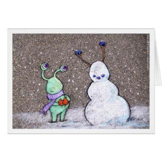 de sneeuwman van sluggo kaart