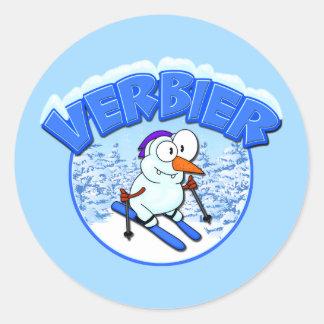De Sneeuwman van Verbier Ronde Sticker