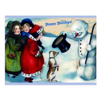 De Sneeuwman van Vintaage, Meisjes, Hond, Gelukkig Briefkaart