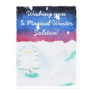 De SneeuwScène Yule van de Zonnestilstand van de Briefkaart