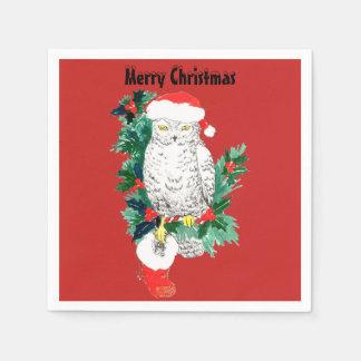 De SneeuwUil van Kerstmis met het Pet en de Kous Papieren Servetten