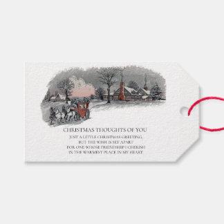 De SneeuwVakantie van het vintage Victoriaans Cadeaulabel