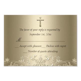 De Sneeuwvlok & Dwars Gouden Doopsel RSVP van de 8,9x12,7 Uitnodiging Kaart