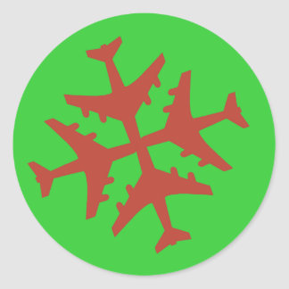 De Sneeuwvlok van het vliegtuig Ronde Sticker