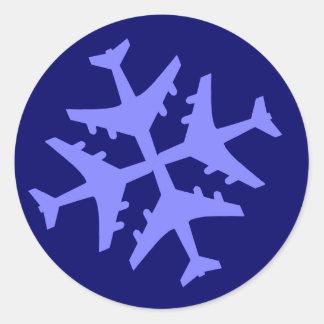 De Sneeuwvlok van het vliegtuig Ronde Stickers