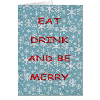 De sneeuwvlokken eten drankrood kaart