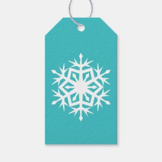 De Sneeuwvlokken van de winter in het Turkooise Cadeaulabel