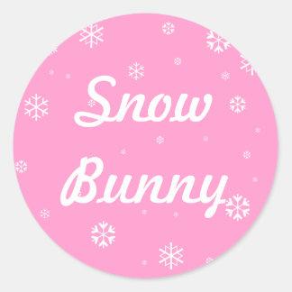 De Sneeuwvlokken van het Konijntje van de sneeuw Ronde Sticker