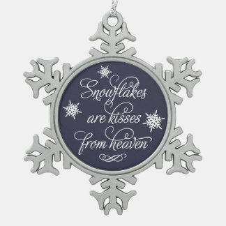 De sneeuwvlokken zijn Kussen van Hemel   Tin Sneeuwvlok Ornament