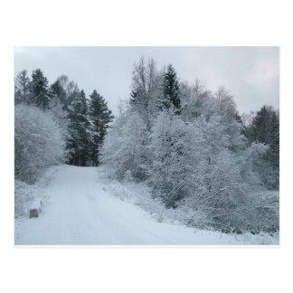 de sneeuwweg Estland van de de wintervreugde Briefkaart