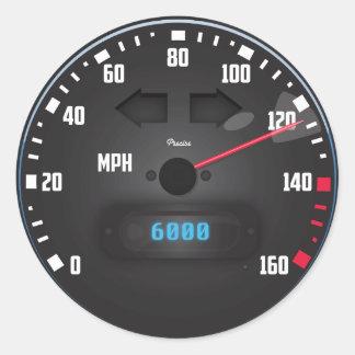 De snelheidsmeter van de raceauto ronde sticker