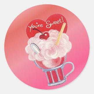 De Soda van het Roomijs van Valentijn Ronde Sticker