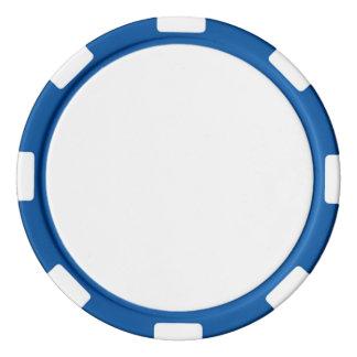 De Spaanders van de pook met Blauwe Gestreepte Pokerchips