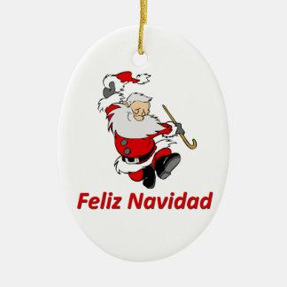 De Spaanse Dansende Kerstman Keramisch Ovaal Ornament