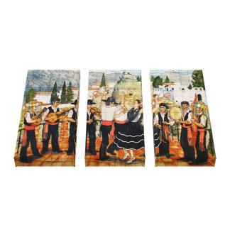 De Spaanse Muurschildering van Musici Stretched Canvas Print