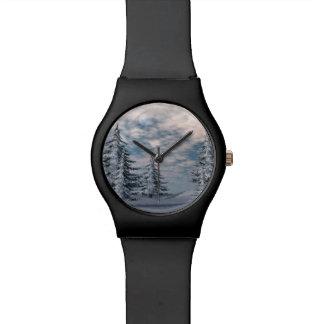 De sparrenlandschap van de winter horloge