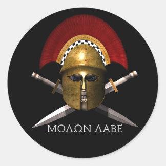 De Spartaanse Schedel van Labe van Molon Ronde Sticker