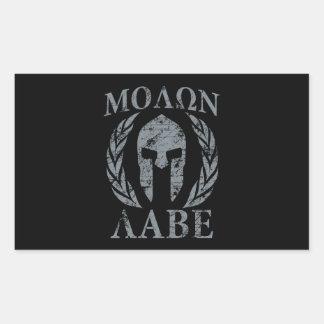 De Spartaanse Strijder Laurels van Labe van Molon Rechthoekige Sticker