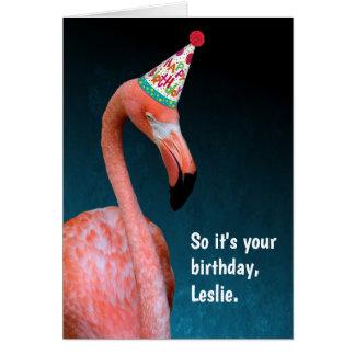 De Speciale Gelukkige Verjaardag van de flamingo Briefkaarten 0