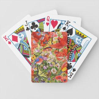 De Speelkaarten van vogels, van Vlinders en van Bicycle Speelkaarten