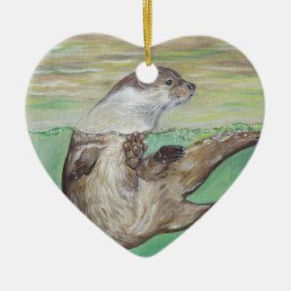 De speelse Otter van de Rivier Keramisch Hart Ornament