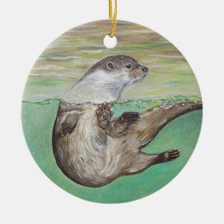 De speelse Otter van de Rivier Rond Keramisch Ornament