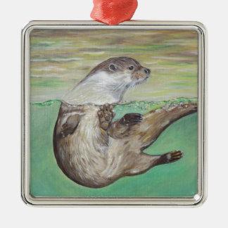 De speelse Otter van de Rivier Zilverkleurig Vierkant Ornament