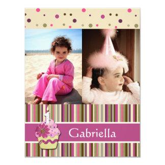 De speelse Roze Vlakke Foto Cupcake dankt u kaardt 10,8x13,9 Uitnodiging Kaart