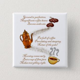 De Speld van de Haiku's van de koffie Vierkante Button 5,1 Cm