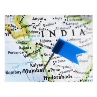 De speld van de kaart die in Mumbai, India op